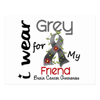 Brain Cancer I Wear Grey For My Friend 43 Postcard