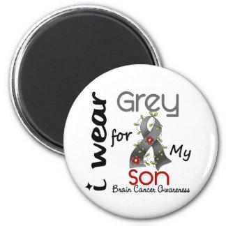 Brain Cancer I Wear Grey For My Son 43 6 Cm Round Magnet