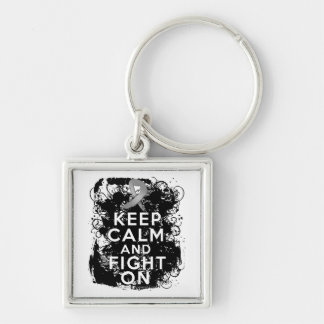 Brain Cancer Keep Calm and Fight On.png Silver-Colored Square Key Ring