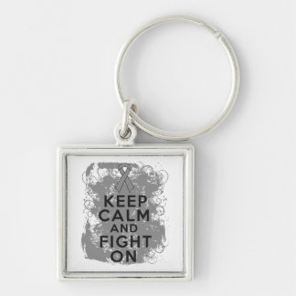 Brain Cancer Keep Calm and Fight On Silver-Colored Square Key Ring