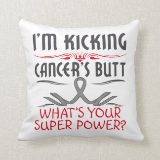 Brain Cancer Kicking Cancer Butt Super Power Pillow