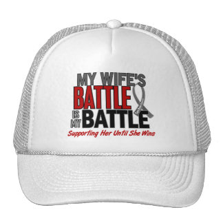 Brain Cancer MY BATTLE TOO 1 Wife Mesh Hat
