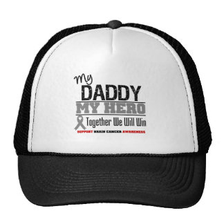 Brain Cancer My Daddy My Hero Together We Will Win Mesh Hats