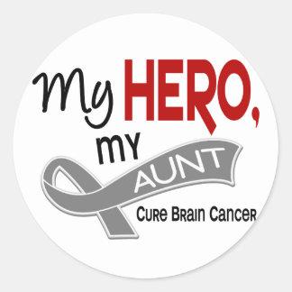 Brain Cancer MY HERO MY AUNT 42 Round Sticker