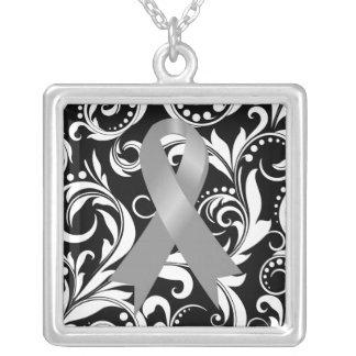Brain Cancer Ribbon Deco Floral Noir Personalized Necklace