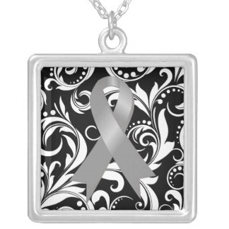 Brain Cancer Ribbon Deco Floral Noir Square Pendant Necklace