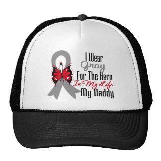 Brain Cancer Ribbon Hero My Daddy Hats