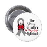 Brain Cancer Ribbon Hero My Husband