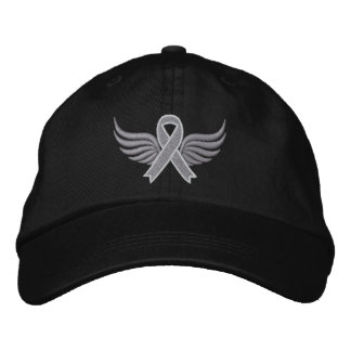 Brain Cancer Ribbon Wings Embroidered Hats