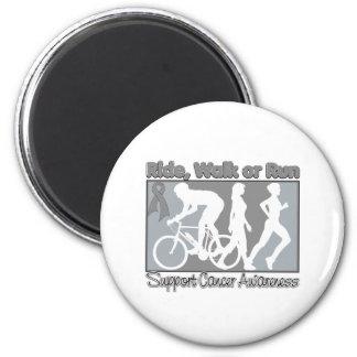 Brain Cancer Ride Walk Run 6 Cm Round Magnet