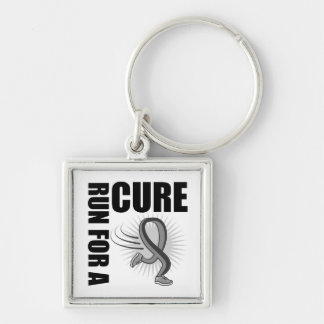 Brain Cancer Run For A Cure Silver-Colored Square Key Ring