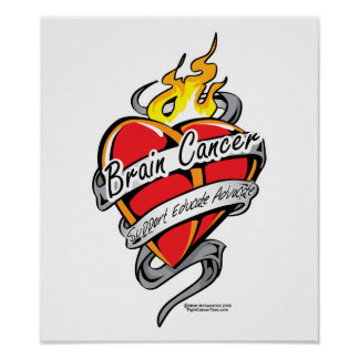 Brain Cancer Tattoo Heart Poster