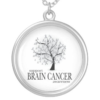 Brain Cancer Tree Silver Plated Necklace