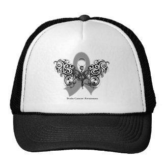 Brain Cancer Tribal Butterfly Ribbon Mesh Hats