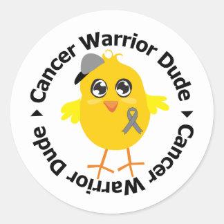 Brain Cancer Warrior Dude Round Stickers