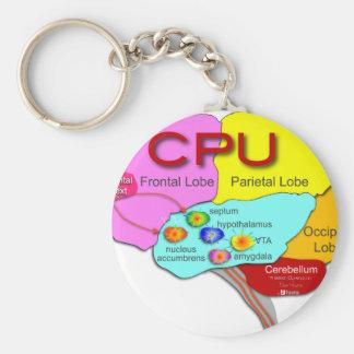 Brain CPU light Basic Round Button Key Ring