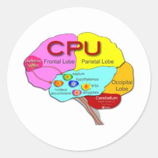 Brain CPU light Round Stickers