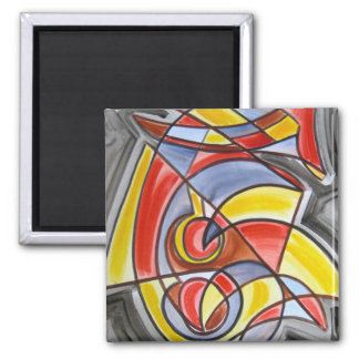Brain Freeze - Abstract Art Square Magnet