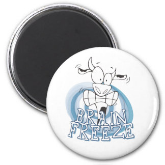 Brain Freeze with cow 6 Cm Round Magnet