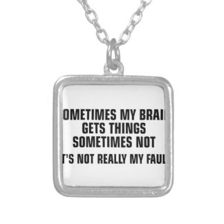 Brain Gets Things Silver Plated Necklace