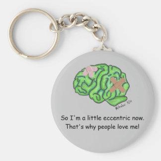 Brain injury awareness basic round button key ring