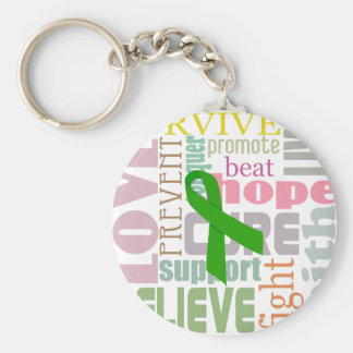 Brain Injury Green Ribbon Inspiration Keychain