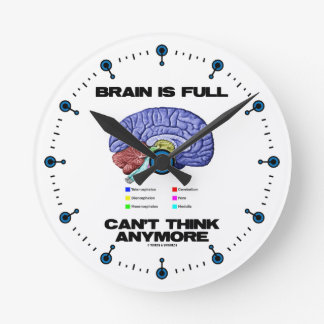 Brain Is Full Can't Think Anymore (Brain Anatomy) Round Clock