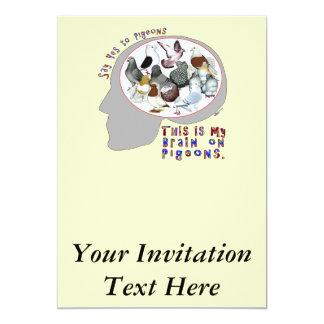 Brain On Pigeons 13 Cm X 18 Cm Invitation Card