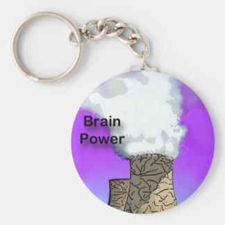 Brain Power Basic Round Button Key Ring