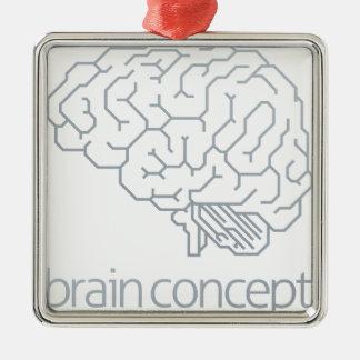 Brain Profile Concept Silver-Colored Square Decoration