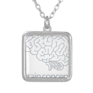 Brain Profile Concept Silver Plated Necklace