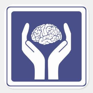 brain sign square sticker
