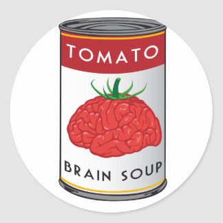 brain soup round sticker