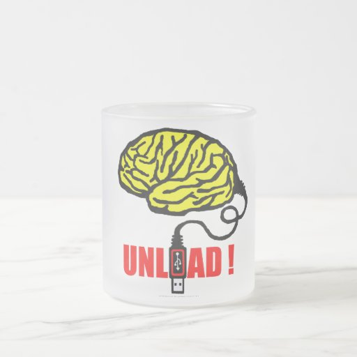 Brain to unload frosted glass mug