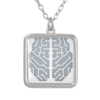 Brain Top Concept Silver Plated Necklace