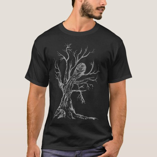 Brain Tree grey on black T-Shirt