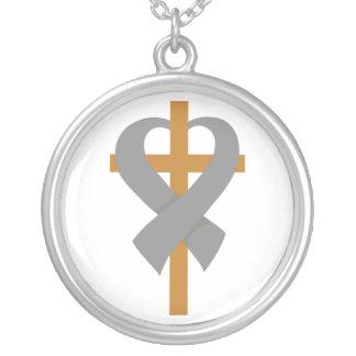 Brain Tumor Cross Heart Ribbon Round Pendant Necklace
