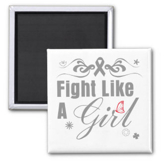 Brain Tumor Fight Like A Girl Ornate Refrigerator Magnets