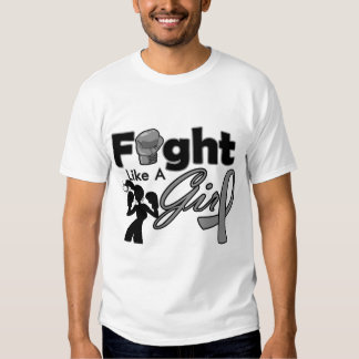 Brain Tumor Fight Like A Girl Silhouette Tee Shirts