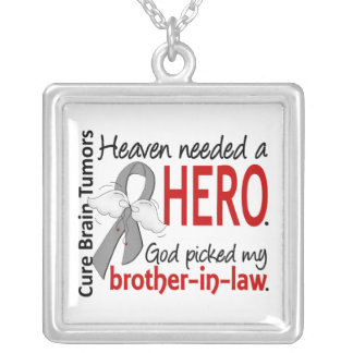 Brain Tumors Heaven Needed a Hero Brother-in-Law Square Pendant Necklace