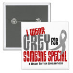 Brain Tumour I Wear Grey For Someone Special 6.2 15 Cm Square Badge