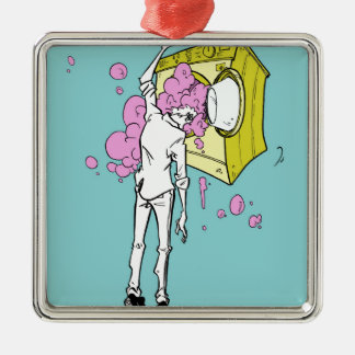 brain wash Silver-Colored square decoration