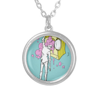 brain wash silver plated necklace