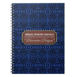 Brain Waves Decorative Blue Black Modern Notebook