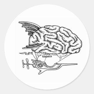 Brain Zeppelin Sticker (White)