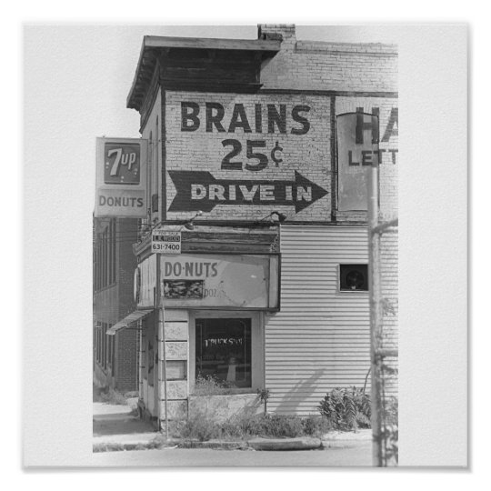 Brains 25 cents B&W Poster