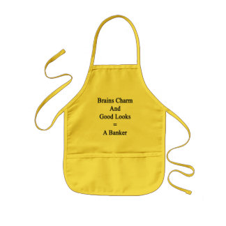 Brains Charm And Good Looks Equals A Banker Kids Apron