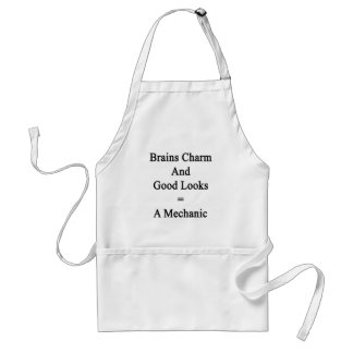 Brains Charm And Good Looks Equals A Mechanic Standard Apron
