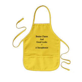 Brains Charm And Good Looks Equals A Saxophonist Kids Apron