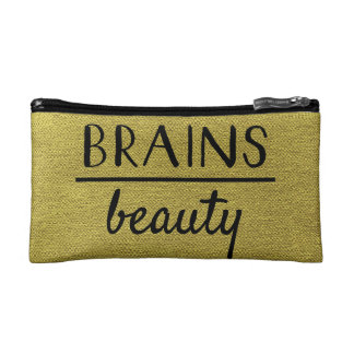 Brains Over beauty Gold and Black Cosmetic Bag